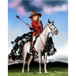 Buckaroo Betty Custom Photo Caricature Print