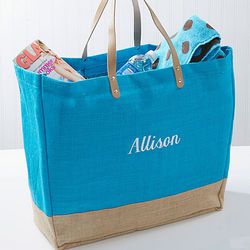 Turquoise Burlap Embroidered Name Tote Bag