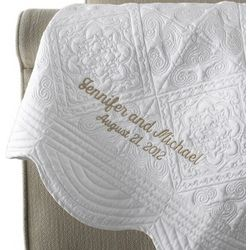Personalized White Peony Quilted Throw