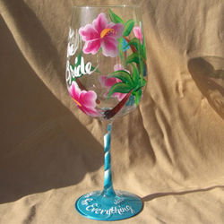 Personalized Wine Glass with Palm Trees and Hibiscus Flowers
