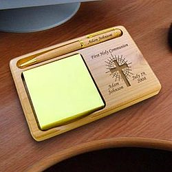 Personalized Holy Cross Wooden Notepad & Pen Holder