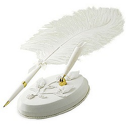 White Wedding Feather Pen