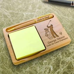 Personalized Golf Wooden Notepad and Pen Holder