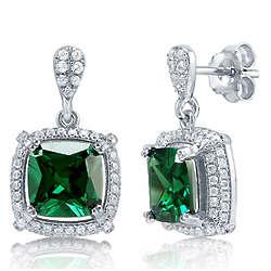 Emerald Cubic Zirconia Sterling Silver Dangle Earrings