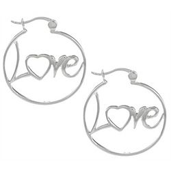 Written Love Hoops in Sterling Silver