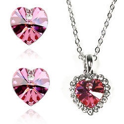 Rose Red Swarovski Crystal Heart Necklace and Earrings Set