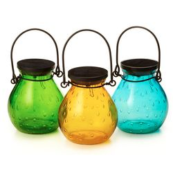 Colored Bubble Glass Solar Lantern