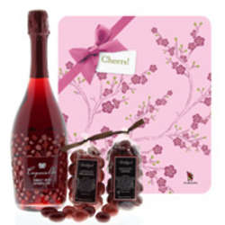 Sweet Red Sparkling Wine and Berries Gift Set