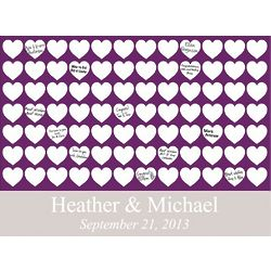 Personalized Plum Hearts Signature Canvas