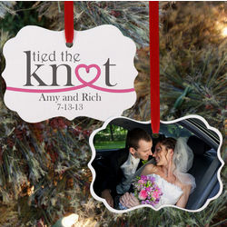 Personalized Tied the Knot Wedding Photo Ornament
