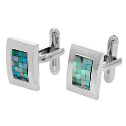 Men's Stainless Steel Opal Mosaic Cuff Links