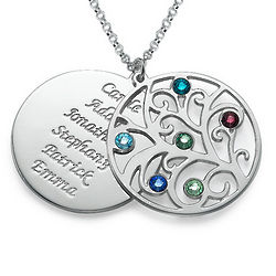 Personalized Filigree Family Tree Birthstone Necklace