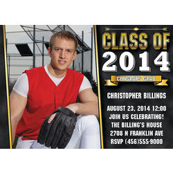 Custom Photo Black and Gold 2014 Graduation Invitations