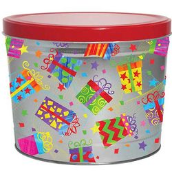 2 Gallons of Popcorn in a Colorful Happy Birthday Gift Tin