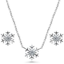 Sterling Silver Cubic Zirconia Snowflake Necklace and Earrings