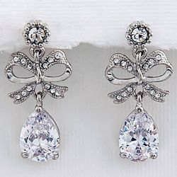 Ribbon Design Cubic Zirconia Earrings in Silvertone
