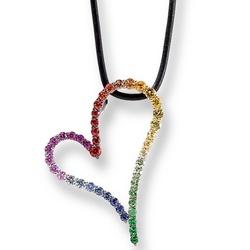 14k White Gold Multi Sapphire Heart Pendant