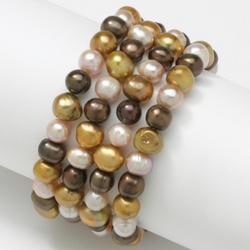 Cocoa-Colored Cultured Freshwater Pearl Bracelet Set