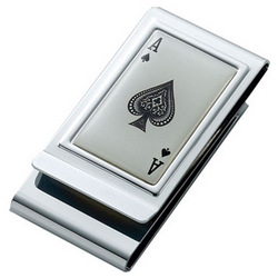 Personalized Ace of Spades Chrome Plated 2 Sided Money Clip