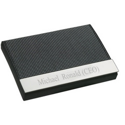 Personalized Black and Gray Weave Business Card Case
