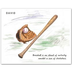 I Love Baseball Personalized Fine Art Print