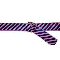 Kids Pink and Navy Diagonal Stripe Ribbon Belt
