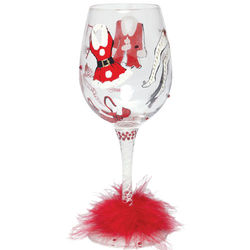 Hot Mama Hand-Painted Wine Glass