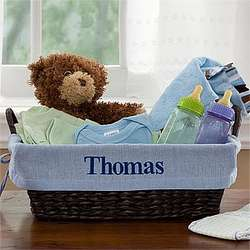 Blue Embroidered New Baby Wicker Basket