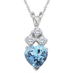 0.06cts Diamond & 1.00cts Aquamarine Pendant in 14k White Gold