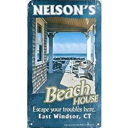 Personalized Rustic Metal Beach House Sign