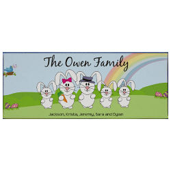 Personalized Bunny Family Easter Wall Canvas