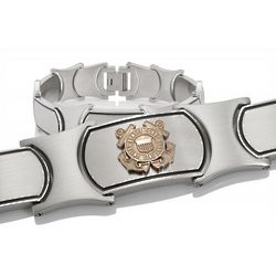 Men's Gold and Stainless Steel US Coast Guard Bracelet