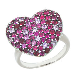 Balissima Pink Sapphire Heart Ring in Sterling Silver