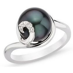 9-10mm Cultured Black Pearl and Diamond Ring