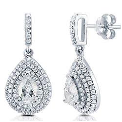 Pear Cut Cubic Zirconia Sterling Silver Halo Dangle Earrings
