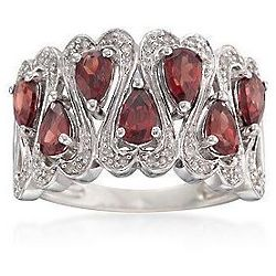 Garnet and Diamond Sterling Silver Ring