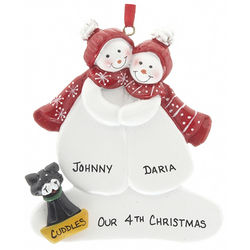 Personalized Snow Couple with Cat Christmas Ornament