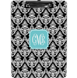 Madison Black Damask Personalized Clipboard