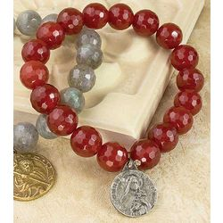 Holy Medal Red Agate Stretch Bracelet