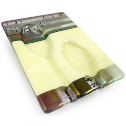 Handmade Earth-Tone Fused Glass Spoon Rest