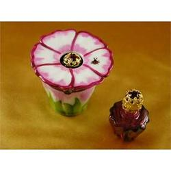 Pink Flower with Perfume Bottle Limoges Box