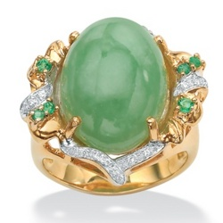 Green Jade and Emerald Cubic Zirconia Ring