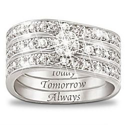 Today, Tomorrow, Always Engraved Diamond Three Band Ring