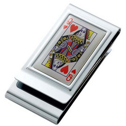 Personalized Queen of Hearts Chrome Plated 2 Sided Money Clip