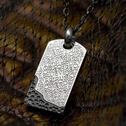 Stainless Steel and Black Dog Tag Pendant