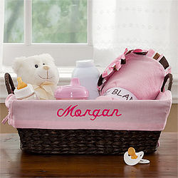 Pink Embroidered New Baby Wicker Basket