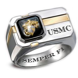'For My Marine' Sterling Silver and Black Onyx Men's Ring