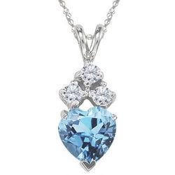 Diamond and Aquamarine Pendant in 14K White Gold