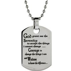 Stainless Steel Serenity Prayer Engravable Dog Tag Pendant