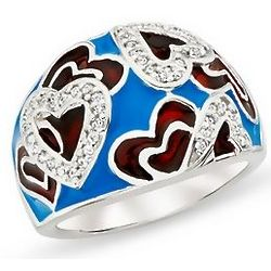Diamond Blue and Red Enamel Heart Ring